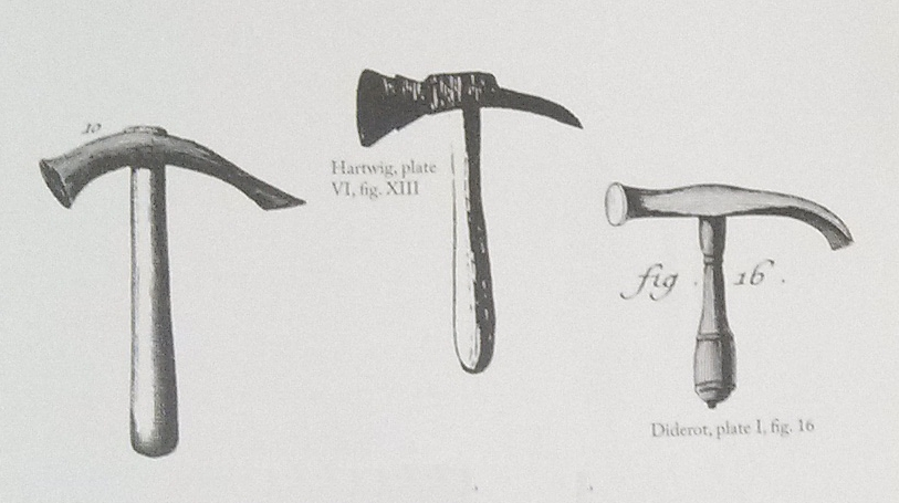 types of antique hammers. these are the most obvious hammers in text, and they match hammer on left at very top of page pretty closely. types antique